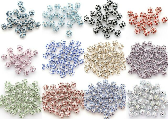 20 Pcs Lots Fashion Austria Crystal Silver Plated Spacer Beads Findings 6mm 8mm