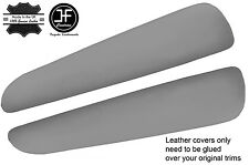 GREY REAL LEATHER 2X FRONT DOOR ARMREST COVERS FITS BMW E46 CONVERTIBLE COUPE