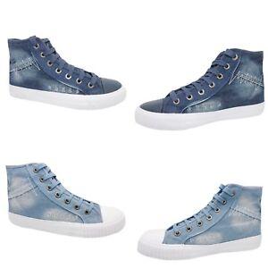 Dettagli su Scarpe uomo jeans alte comode lacci tessuto estive blu ble 40 41 42 43 44 45