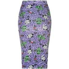8f6f614f9a HALLOWEEN Iron Fist Skull Purple Leopard Print Amy Winehouse Pencil Skirt S  6/8