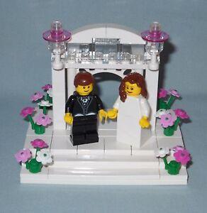 New Custom Lego Wedding Brown Hair Bride And Groom Arch Flowers