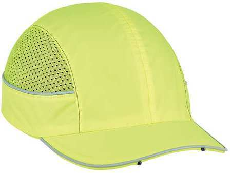 SKULLERZ by Ergodyne 8960 Bump Cap,LED Lighting,Short Brim,Lime