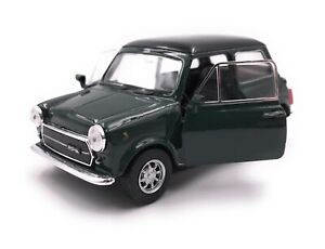 Modello-di-auto-Mini-Cooper-1300-Oldtimer-Macchina-Verde-Scala-1-3-4-39-con-licenza