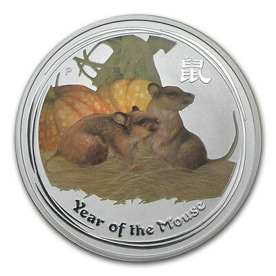 Perth Mint Australia $1 LS2 Colored Rat Mouse 2008 1 oz .999 Silver Coin