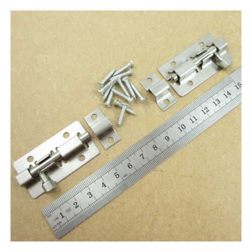 """2 x STAINLESS STEEL SLIDE BOLTS  2/"""" CATCHES TOWER BOLT SHED GARAGE DOOR H019"""