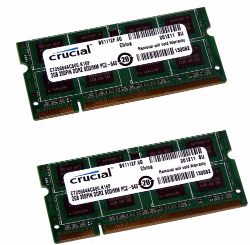 New Genuine Crucial Memory Ram Laptop DDR2 PC2 6400S 800 MHz SODIMM  2GB 4GB LOT
