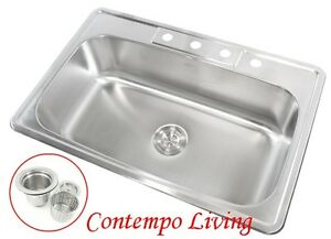 deep single bowl kitchen sink 33 quot x 22 quot x 9 quot top mount drop in stainless steel 8596
