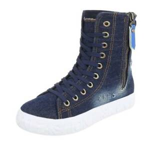 Women-039-s-Denim-Sneakers-Hidden-Increased-Lace-Up-Fashion-Casual-Shoes-Size-38