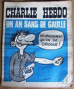 CHARLIE-HEBDO-N-51-del-8-11-1971-Wolinski-Un-an-sans-De-Gaulle-gt-gt-gt
