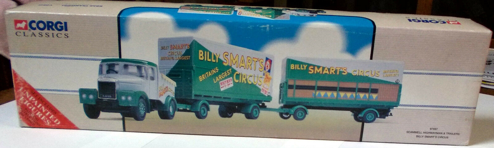 Corgi 1 50 - Scammell Highwayman & Trailers Billy Smart's Circus + unpainted fig