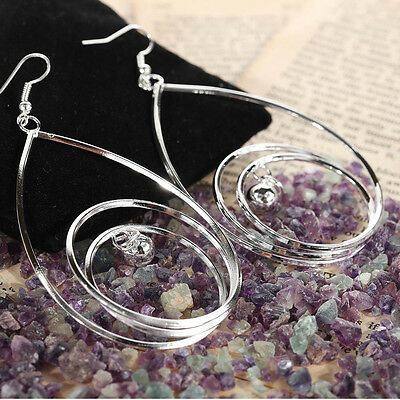 Charms Design Jewel Vintage Multilayer Round Circle Sliver Plated Women Earrings