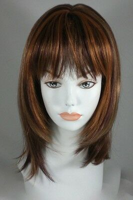 Brown/Auburn Mid length Layered Flip Wig w/Full Bangs