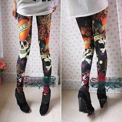 Fashion Slim Graffiti Doodle Skull Tights Legging Pants SK1316 SA