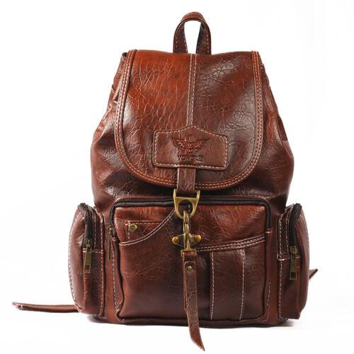 Women/'s Vintage Leather Backpack School Backpack Shoulder Travel Rucksack Bag