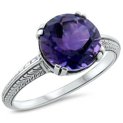 ANTIQUE ART DECO STYLE LAB AMETHYST 925 SILVER FILIGREE RING SIZE 5.75 #246
