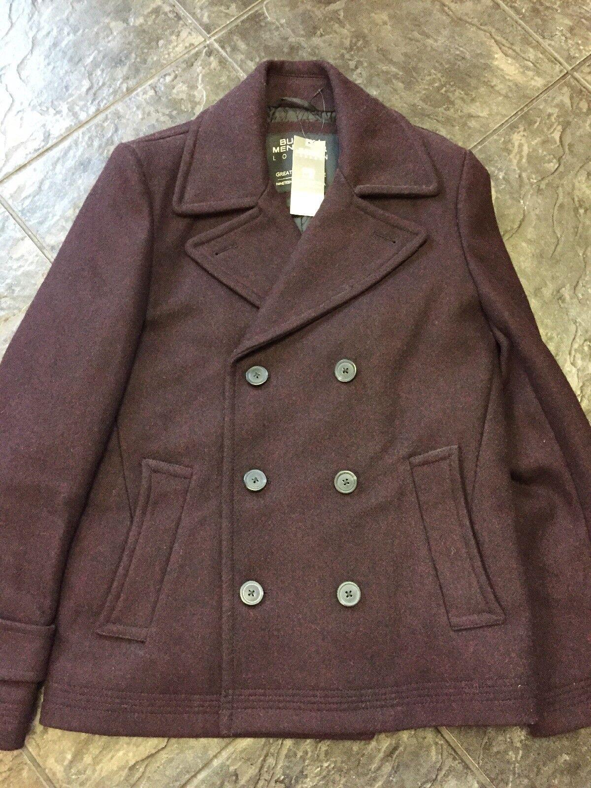 BNWT Mens Wool Blend Burgundy Smart Winter Coat Size Small