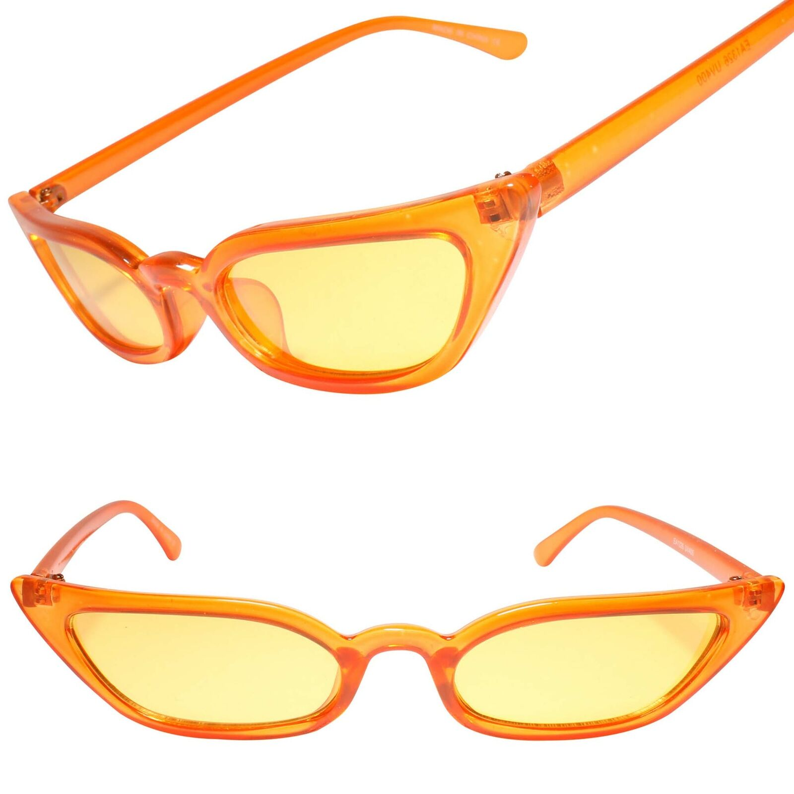 Classic Vintage Retro Rockabilly 80s Fashion Womens Cat Eye Orange Sunglasses