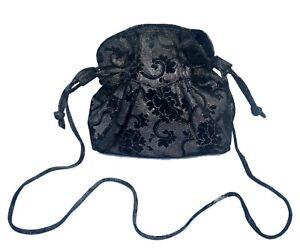 Russell-amp-Bromley-Black-amp-Silver-Suede-Leather-Clutch-Shoulder-Evening-Handbag
