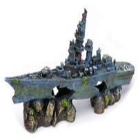 Ship Wreck Aquarium Fish Tank Decoration Decor Ornament Navy Aircraft Carrier