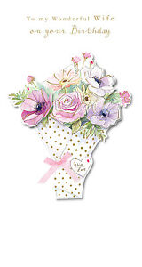 Wife-Birthday-Card-Hand-Finished-034-Pink-Bouquet-Design-034-Size-9-00-034-x-4-75-034-MM0114