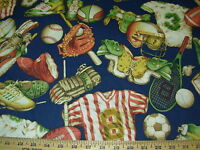~2 6/8 YDS~ SPORTS GEAR CHILDRENS~LIGHT COTTON UPHOLSTERY FABRIC FOR LESS~