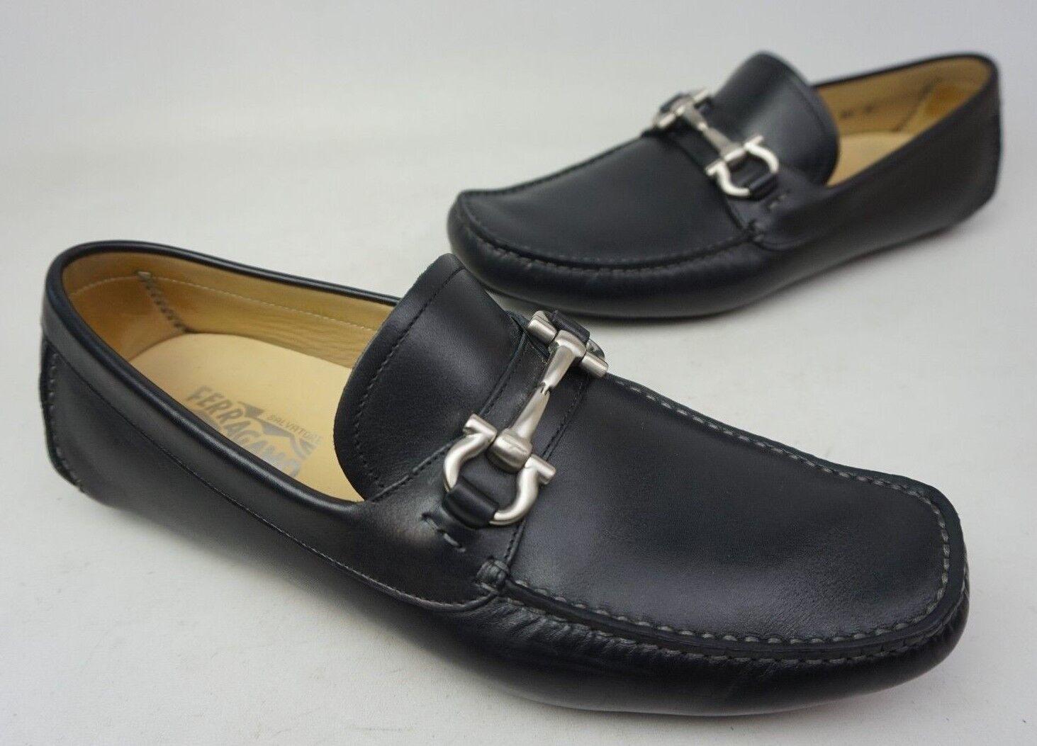 Salvatore Ferragamo Parigi Driving Black Shoes Silver Bit Loafers Size 8.5 EE 2E