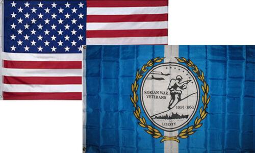 3x5 Wholesale Combo USA American /& Korean War Veteran Vet Flag 3/'x5/' 2 Pack