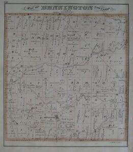 Original 1875 Everts Map Bennington Township Appleton Licking County