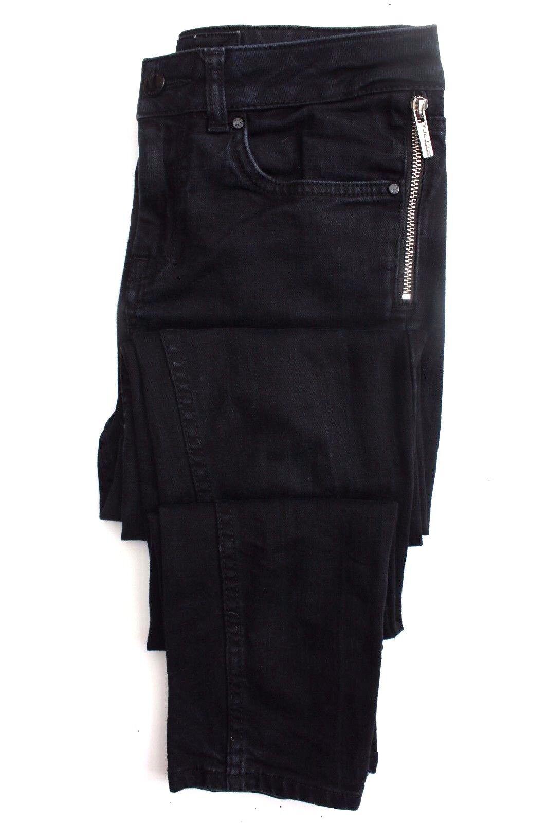 Karen Millen PN002 Blau Zip Biker Skinny Slim Denim Denim Denim Stretch Trouser Jeans 8 - 10 0db8fe