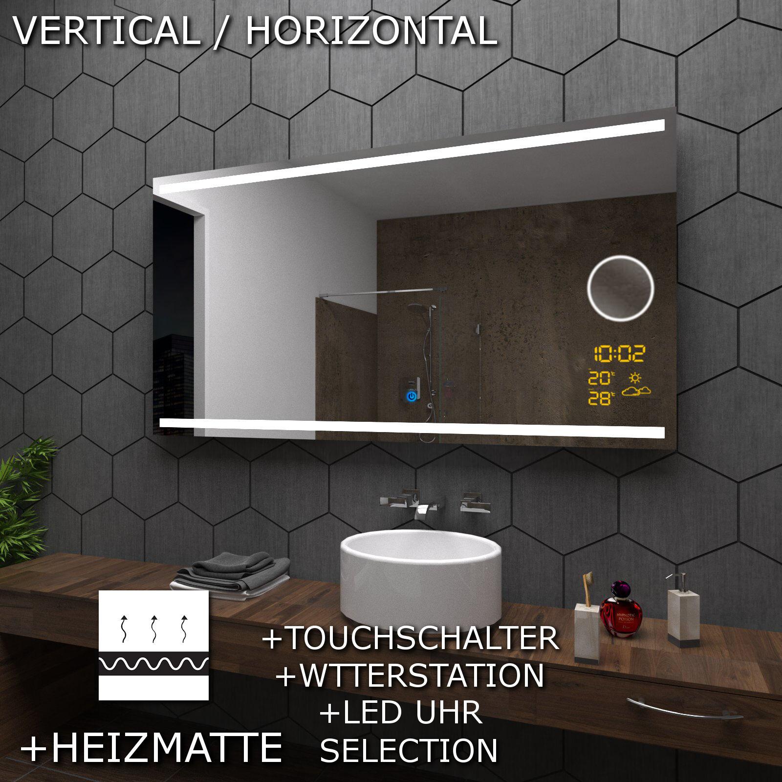 DENVER SPIEGEL Badspiegel mit LED Beleuchtung mit KOSMETIKSPIEGEL und Touch A06