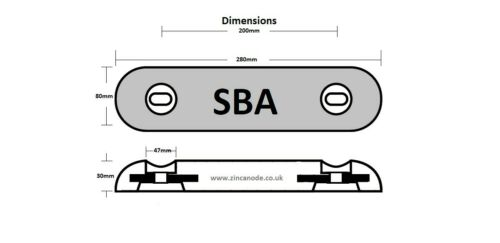 Zinc Bar Anode by SBA Ltd with oval holes at 200mm centres