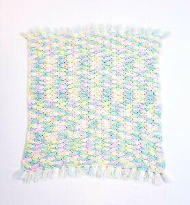 "Vintage Handmade Crocheted Fringed Baby Blanket 30""x30"" Multicolored Unisex"