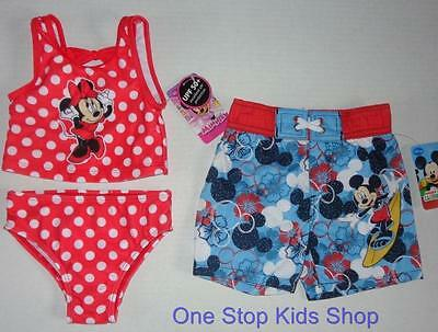MICKEY or MINNIE MOUSE Infant 12 18 24 Mo SWIM TRUNKS or SWIMSUIT Tankini Shorts