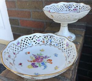 Circa 1940's Schumann Bavaria Empress Flowers and Fruit Pattern Compote and Bowl