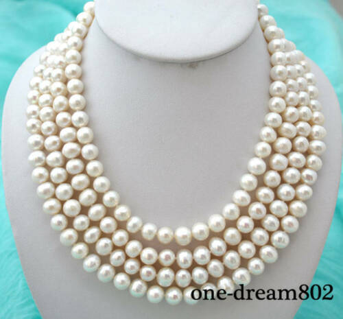"""4row 21/"""" 10 mm round white FRESHWATER PEARL NECKLACE"""