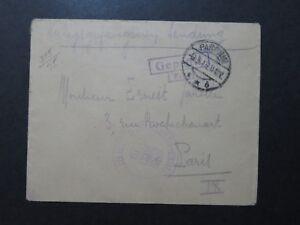 Germany-1915-Parchim-POW-Cover-to-Paris-Z9712