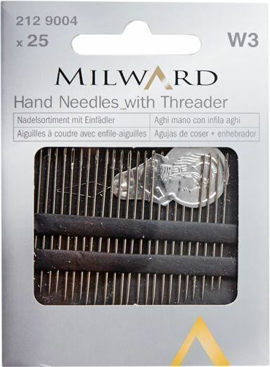 25 Assorted Milward Steel Hand Sewing Needles with Threader - DECMIL25