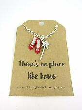 "No Place Like Home Wizard of Oz Ruby Slippers & Wand 18"" Necklace New Gift Card"