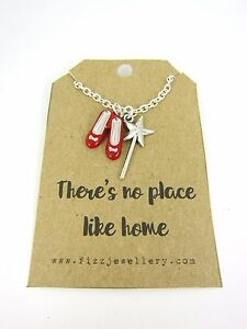 No-Place-Like-Home-Wizard-of-Oz-Ruby-Slippers-amp-Wand-18-034-Necklace-New-Gift-Card
