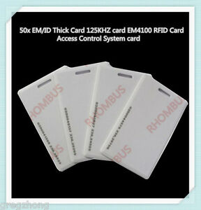 50pcs Clamshell 2MM Thickness 125KHZ EM4100/4102 RFID Access Control System card