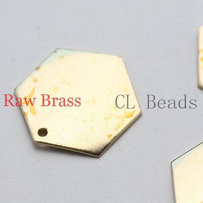 30pcs Raw Brass Charm - Honeycomb Hexagons 17mm (1697C-U-56)