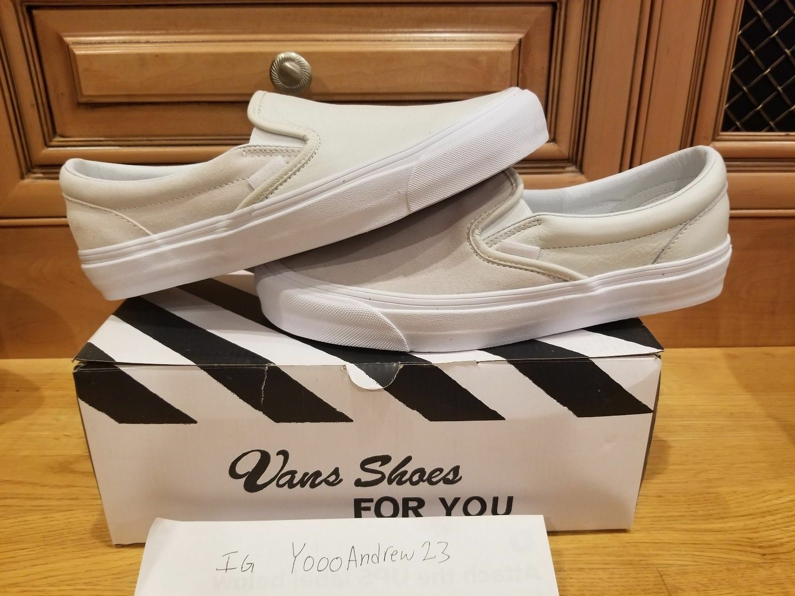 Vault by Vans Engineered Garments Classic Slip-On LX Sneaker in White 8.5