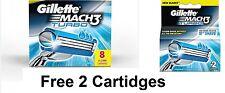 Gillette Mach 3 TURBO Cartridges 10 (8 + 2)  Pack Razor Blades Shaving Mach3 NEW