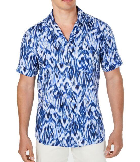 Tasso Elba Mens Shirt White Blue Size XL Button Down Abstract Printed $65 #066