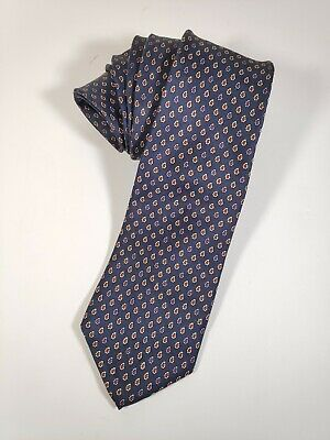 Vintage Austin Reed Of Regent Street Neck Tie Navy Blue Red Accents 100 Silk Ebay