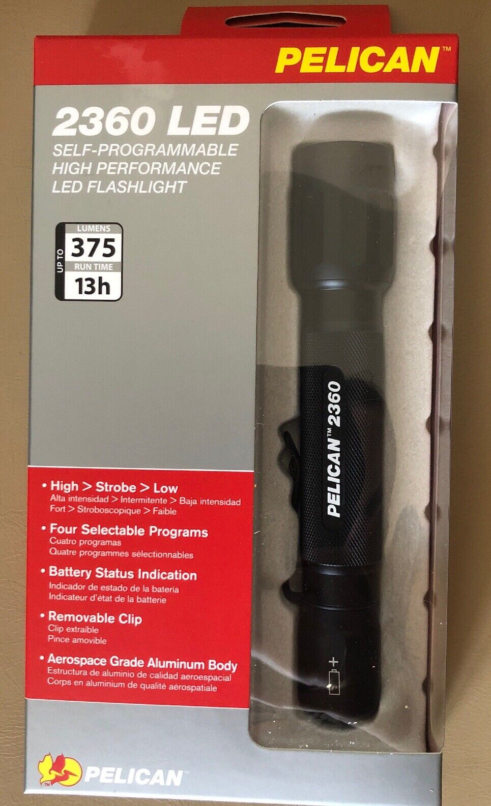 Police Tactilcal 2360 Pelican 2 Cell AA LED Flashlight 375 Lumem Strobe  Police