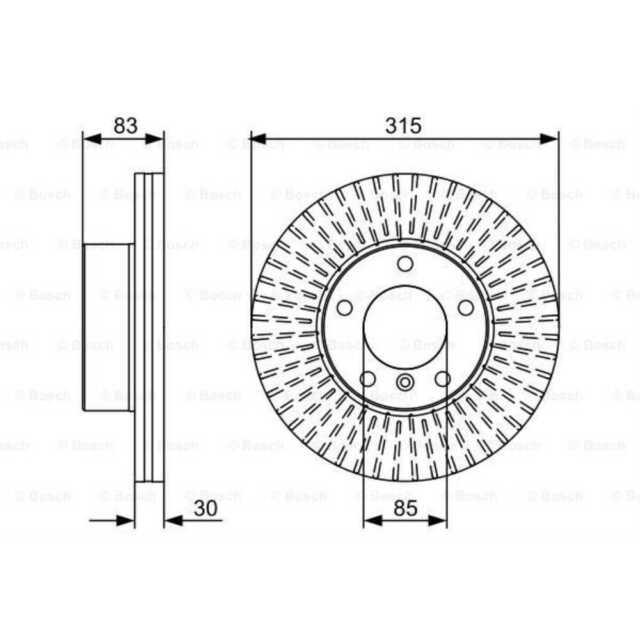 Bosch 2x disques de frein ventilée naturellement huilé 0 986 479 568