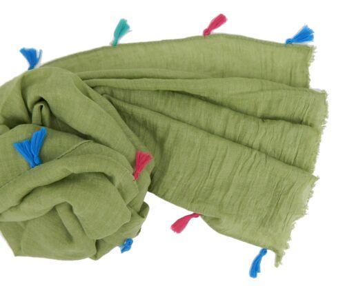 Damenschal grün mit bunten Quasten Ella Jonte leichter breiter Schal lindgrün