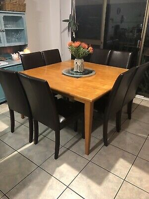 Dining Table 8 Leather Look Chairs