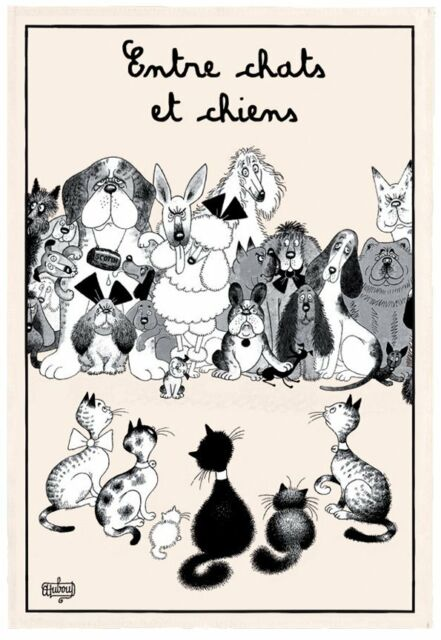 Torchons & Bouchons French Cats & Dogs DUBOUT Art Dish Tea Towel Chats et Chiens